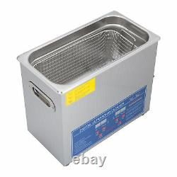 1.6Gal Ultrasonic Cleaner Cleaning Stainless Steel Jewelry Clean Heater Timer 6L