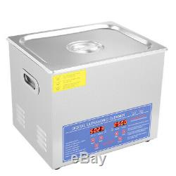 10L Digital Cleaning Machine Ultrasonic Heated Cleaner Bath Tank Timer Industry