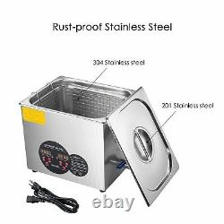 10L Stainless Steel Ultrasonic Cleaner Heater with Timer Bracket Jewelry Cleaning