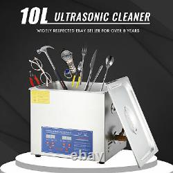 10l Qt Ultrasonic Cleaner 250W Digital Heated Industrial Parts with Timer & Heater