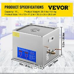 15L Liter Industry Heated Ultrasonic Cleaners Cleaning Equipment Heater Timer