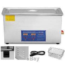 30l 380w Digital Heated Industrial Ultrasonic Cleaner WithTimer Basket