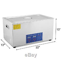 30l Qt 380w Digital Heated Industrial Ultrasonic Cleaner With Timer &Basket Parts