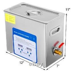 316 Stainless Steel 6L Ultrasonic Cleaner Heater Timer WithBall Basket