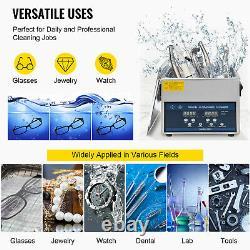 3L Digital Ultrasonic Cleaner with Heater 28/40KHz Jewelry Degas Eyeglasses