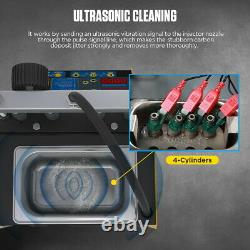 4-Cyl Fuel Injector Ultrasonic Cleaner Flushing Tester for Petrol Car Motorcycle