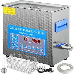 6L Digital Ultrasonic Cleaner with Heater 28/40KHz Lab Degas Eyeglasses