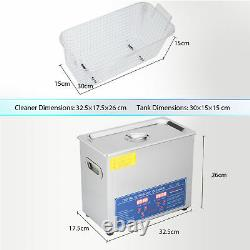 6L Ultrasonic Cleaner Machine for Jewelry Glass Polishing withTimer&Heater Preenex