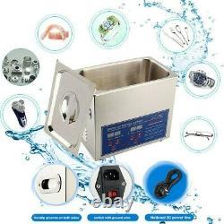6L Ultrasonic Cleaner Stainless Steel Digital Bath Heater Ultra Sonic CE UK