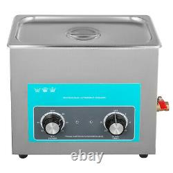 6L Ultrasonic Cleaner with Heater Timer Knob Control Solution Lab Water Drain