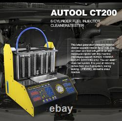 Car Motorcycle 6 Cylinders Ultrasonic Fuel Injector Cleaner Nozzle Tester CT200