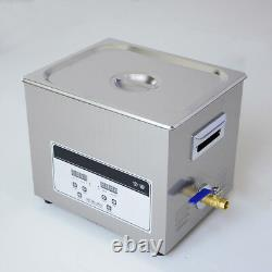 NZL 220V Stainless Steel Ultrasonic Cleaner 10L Digital Timer Heated Cleaning