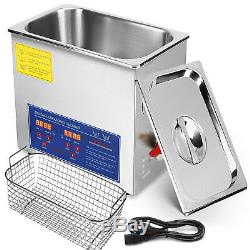 New Stainless Steel 10L Liter Industry Heated Ultrasonic Cleaner Heater Timer #