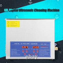 New Stainless Steel 10L Liter Industry Heated Ultrasonic Cleaner Heater Timer US