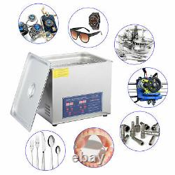 New Stainless Steel 10L Ultrasonic Cleaner 250W Digital Timer Heater WithBracket