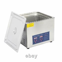 New Stainless Steel 15L Liter Industry Heated Ultrasonic Cleaner Heater withTimer