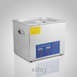 Stainless Steel 10 L Liter Industry Heated Ultrasonic Cleaner Heater withTimer USA