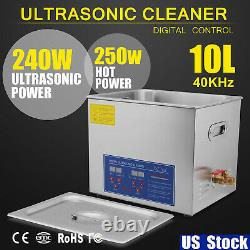 Stainless Steel 10L Liter Industry Heated Ultrasonic Cleaner Heater with Timer USA