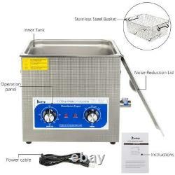 Stainless Steel 10L Liter Industry Ultrasonic Cleaner Adjutable Heater Timer