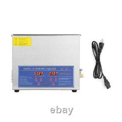 Stainless Steel Industry Ultrasonic Cleaner 10L Heated Heater withTimer US