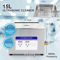 Ultrasonic Cleaner 360W Heated Parts Cleaner 15L for Small Carburetors Injectors