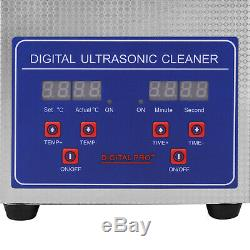 Ultrasonic Jewelry Cleaner Eyeglass Sonic Cleaner Machine /w 1.5L Heater & Timer