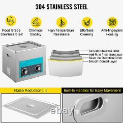 VEVOR 10L 240W Ultrasonic Cleaner Stainless Steel Knob Control with Heater & Timer