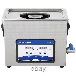 VEVOR 6.5L Ultrasonic Cleaner 90/180W Jewelry Glasses Lab Degas Heater withTimer
