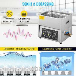 VEVOR Digital Ultrasonic Cleaner Ultrasonic Cleaning Machine 10L Stainless Steel