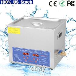 10l Acier Inoxydable Nettoyeur Ultrasonore Chauffage Machine De Nettoyage Chauffe-linge Avec Minuterie