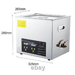 10l Professionnel Ultrasonic Cleaner Heater Digital Timer Pour Jewelry Coin Watch