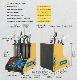 4 Cylindres Ultrasonique Injecteur De Carburant Nettoyeur Flow Leak Testeur +6pc Adaptateur Moteur