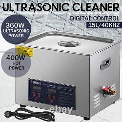 Équipement De Nettoyage À Ultrasons Commercial 15l Liter Industrie Minuterie Chauffée