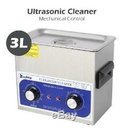 Litres En Acier Inoxydable 3l Industrie Nettoyeur À Ultrasons Chauffant Chauffage + Minuterie Us