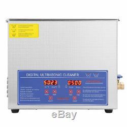 Machine De Nettoyage Nettoyeur À Ultrasons Bain Réservoir Minuterie Chauffée Machine 10l Numérique