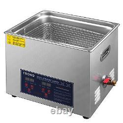 Nettoyeur À Ultrasons Acier Inoxydable 15l Industrie Chauffe-glace Avec Minuterie