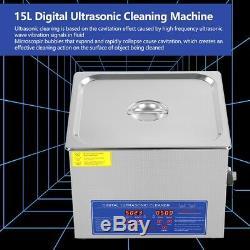 New 15l Litres Industrie Numérique Nettoyeur À Ultrasons Chauffe-withtimer En Acier Inoxydable