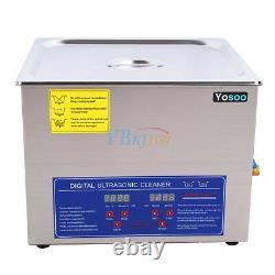 New 15l Nettoyeur Ultrasonique Industrie De L'acier Inoxydable Chauffant Chauffant Avec Minuterie USA