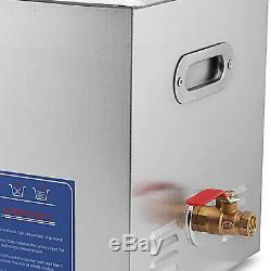 Nouveau En Acier Inoxydable 10l Litres Industrie Nettoyeur Ultrasonique Chauffé Chauffe-minut #