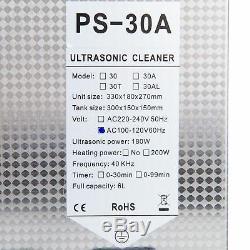 Nouveau En Acier Inoxydable 6l Litres Industrie Nettoyeur À Ultrasons Chauffants Chauffe Withtimer